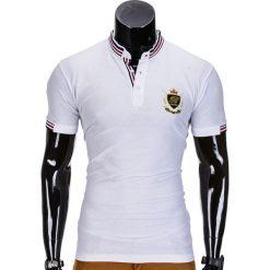 KOSZULKA MĘSKA POLO Z NADRUKIEM S849 - BIAŁA. Białe koszulki polo Ombre Clothing, m, z aplikacjami. Za 29,00 zł.