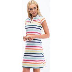 Kolorowa sukienka polo w paski 6508. Szare sukienki Fasardi, xl, w kolorowe wzory, polo, oversize. Za 59,00 zł.