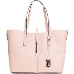 Shopper bag damskie: Skórzany shopper bag w kolorze jasnoróżowym – 40 x 27 x 14 cm
