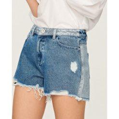 Szorty damskie: Szorty z dwukolorowego jeansu – Niebieski
