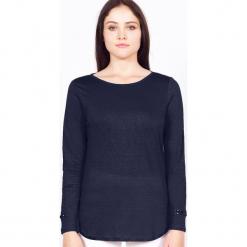 """Koszulka """"Rosie"""" w kolorze granatowym. Niebieskie bluzki longsleeves marki Ateliers de la Maille, z aplikacjami, z okrągłym kołnierzem. W wyprzedaży za 136,95 zł."""