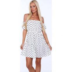 Sukienki: Sukienka z opadającym rękawkiem w grochy kremowa 707