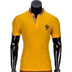 KOSZULKA MĘSKA POLO Z NADRUKIEM S849 - ŻÓŁTA. Żółte koszulki polo Ombre Clothing, m, z aplikacjami. Za 29,00 zł.
