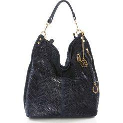 Shopper bag damskie: Skórzany shopper bag w kolorze granatowym – 42 x 38 x 17 cm