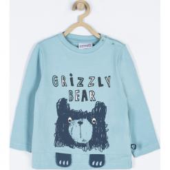 Koszulka. Niebieskie t-shirty chłopięce z długim rękawem GRIZZLY BEAR, z aplikacjami, z bawełny. Za 39,90 zł.