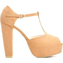 Camelowe Sandały Vernacular. Brązowe sandały damskie na słupku Born2be, z materiału, na wysokim obcasie. Za 129,99 zł.