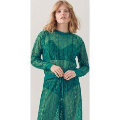 Bluzy damskie: Koronkowa bluza redesign – Turkusowy
