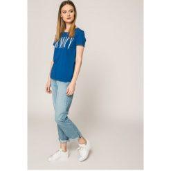 Tommy Jeans - Top. Szare topy sportowe damskie marki Tommy Jeans, l, z nadrukiem, z bawełny, z okrągłym kołnierzem. W wyprzedaży za 99,90 zł.
