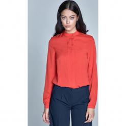 Wizytowa Pomarańczowa Bluzka z Zakładkami na Przodzie. Niebieskie bluzki koszulowe marki ARTENGO, z elastanu. Za 102,90 zł.