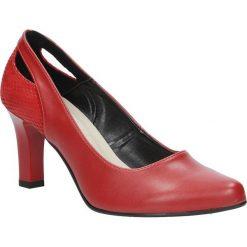 Czerwone czółenka na słupku z wycięciem na pięcie Casu 3069. Czerwone buty ślubne damskie marki Casu, na słupku. Za 78,99 zł.