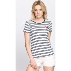 Biało-Granatowy T-shirt See Love. Białe bluzki damskie marki Born2be, l. Za 14,99 zł.