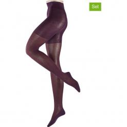 Rajstopy (2 pary) w kolorze fioletowym. Fioletowe pończochy i rajstopy marki FOUGANZA, z bawełny. W wyprzedaży za 130,95 zł.