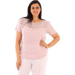 """T-shirty damskie: Lniana koszulka """"Geneve"""" w kolorze jasnoróżowym"""