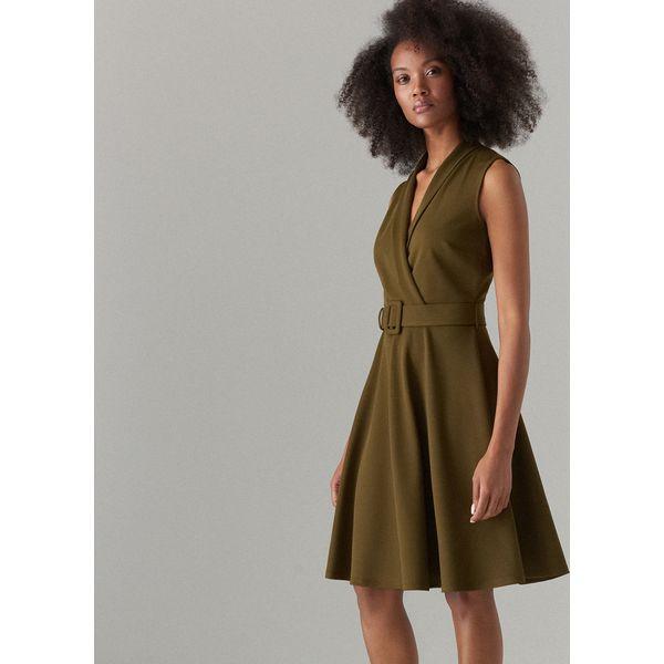 cdb18444 Rozkloszowana sukienka z paskiem - Khaki