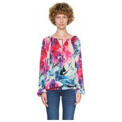 Desigual Bluzka Damska Zazil Xs Wielo Barwny. Niebieskie bluzki z odkrytymi ramionami Desigual, xs, w kolorowe wzory, z materiału. Za 300,00 zł.