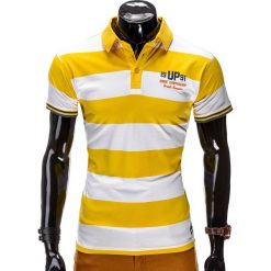 KOSZULKA MĘSKA POLO Z NADRUKIEM S511 - ZÓŁTA. Żółte koszulki polo marki ATORKA, xs, z elastanu. Za 19,99 zł.