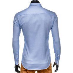 KOSZULA MĘSKA Z DŁUGIM RĘKAWEM K401 - BŁĘKITNA. Brązowe koszule męskie na spinki marki Ombre Clothing, m, z aplikacjami, z kontrastowym kołnierzykiem, z długim rękawem. Za 69,00 zł.
