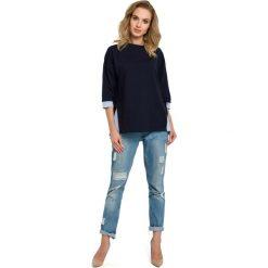 Granatowa  Bluza 2w1 z Wiązaniem na Boku. Niebieskie bluzy damskie Molly.pl, l, z krótkim rękawem, krótkie. Za 129,90 zł.