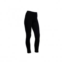 Legginsy narciarskie SIMPLE WARM damskie. Czarne legginsy marki WED'ZE, xs, z materiału. Za 19,99 zł.