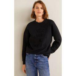 Mango - Bluza Worries. Szare bluzy z nadrukiem damskie Mango, l, z bawełny, bez kaptura. Za 119,90 zł.