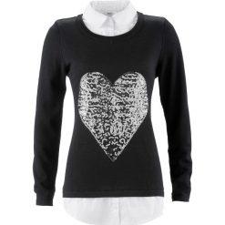 Sweter 2 w 1 z koszulową wstawką, długi rękaw bonprix czarny. Czarne swetry klasyczne damskie bonprix, z koszulowym kołnierzykiem. Za 109,99 zł.
