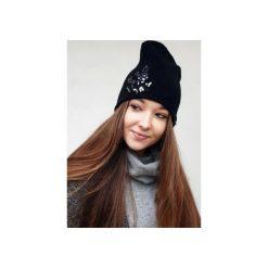 Czapki zimowe damskie: Czapka CHAPOOSIE Black Beanie & Frozen Flowers