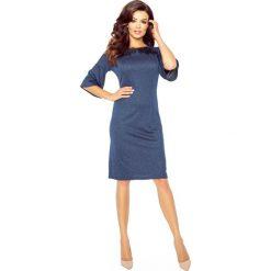 GABRIELA klasyczna i wygodna sukienka GRANAT. Niebieskie sukienki balowe marki Bergamo, z materiału, z klasycznym kołnierzykiem, rozkloszowane. Za 105,00 zł.