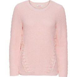 Swetry klasyczne damskie: Sweter z koronkową wstawką, długi rękaw bonprix perłowy jasnoróżowy