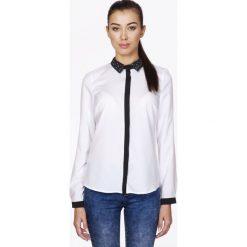 Bielizna damska: Biała Koszula z Ozdobnym Kołnierzykiem