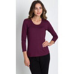 Bluzki damskie: Bordowa bluzka z rękawem 3/4 BIALCON