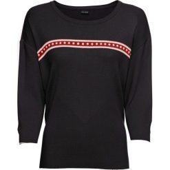 Sweter z perełkami bonprix czarny. Czarne swetry klasyczne damskie bonprix, z kontrastowym kołnierzykiem. Za 59,99 zł.