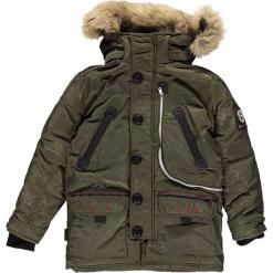 """Kurtka zimowa """"Carnaval"""" w kolorze khaki. Brązowe kurtki chłopięce zimowe marki Geographical Norway Kids & Women, z aplikacjami. W wyprzedaży za 346,95 zł."""