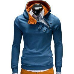 Bluzy męskie: BLUZA MĘSKA Z KAPTUREM PACO – GRANATOWO-RUDA
