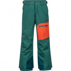"""Spodnie narciarskie """"Burnout"""" w kolorze pomarańczowo-zielonym. Brązowe spodnie chłopięce marki Marmot Kids, z haftami, z materiału. W wyprzedaży za 222,95 zł."""