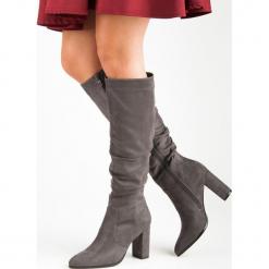 SZARE KOZAKI NA SŁUPKU. Szare buty zimowe damskie Super Mode, na słupku. Za 128,00 zł.