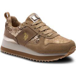 Sneakersy U.S. POLO ASSN. - Tabitha1 FRIDA4103W8/HT1 Gold. Brązowe sneakersy damskie U.S. Polo Assn., z materiału. W wyprzedaży za 279,00 zł.