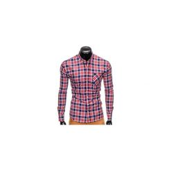 KOSZULA MĘSKA W KRATĘ Z DŁUGIM RĘKAWEM K393 - CZERWONA. Brązowe koszule męskie na spinki marki Ombre Clothing, m, z aplikacjami, z kontrastowym kołnierzykiem, z długim rękawem. Za 49,00 zł.
