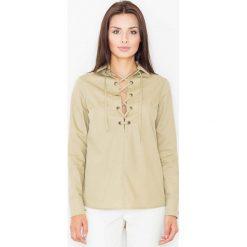Bielizna damska: Oliwkowa Sznurowana Koszula z Długim Rękawem