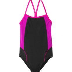 Stroje jednoczęściowe dziewczęce: Kostium kąpielowy dziewczęcy bonprix czarno-różowy neonowy