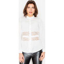 Bluzki asymetryczne: Ecru Koszulowa Bluzka z Koronkowym Panelem