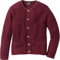 Sweter rozpinany w ludowym stylu Regular Fit bonprix czerwony klonowy. Niebieskie kardigany męskie marki bonprix, z nadrukiem. Za 44,99 zł.