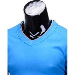 T-SHIRT MĘSKI BEZ NADRUKU S678 - NIEBIESKI. Szare t-shirty męskie z nadrukiem marki Lacoste, z gumy, na sznurówki, thinsulate. Za 19,99 zł.