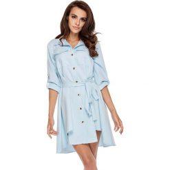 Sukienki: Niebieska Koszulowa Sukienka w Militarnym Stylu