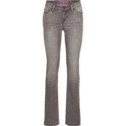 Dżinsy SLIM bonprix jasnoszary denim. Niebieskie jeansy damskie marki bonprix, z nadrukiem. Za 59,99 zł.