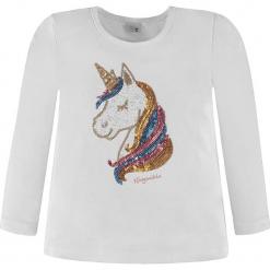Koszulka w kolorze białym. Białe bluzki dziewczęce bawełniane Königsmühle, z nadrukiem, z okrągłym kołnierzem, z długim rękawem. W wyprzedaży za 47,95 zł.