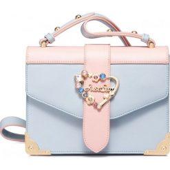 Kuferki damskie: Kuferek niebiesko różowy