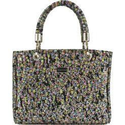 Torebki klasyczne damskie: Skórzana torebka w kolorze czarnym ze wzorem – (S)28 x (W)21 x (G)12 cm