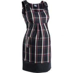 Sukienka ciążowa biznesowa, w kratę bonprix czarno-ciemnoczerwony w kratę. Czarne sukienki ciążowe marki bonprix, do pracy, w paski, biznesowe, moda ciążowa. Za 79,99 zł.