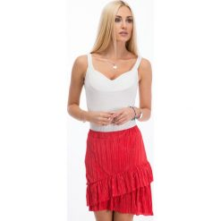 Czerwona plisowana spódniczka 11890. Białe spódniczki marki Fasardi, l. Za 34,00 zł.