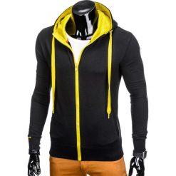BLUZA MĘSKA ROZPINANA Z KAPTUREM B485 - CZARNA/ŻÓŁTA. Czarne bluzy męskie rozpinane Ombre Clothing, m, z bawełny, z kapturem. Za 39,00 zł.